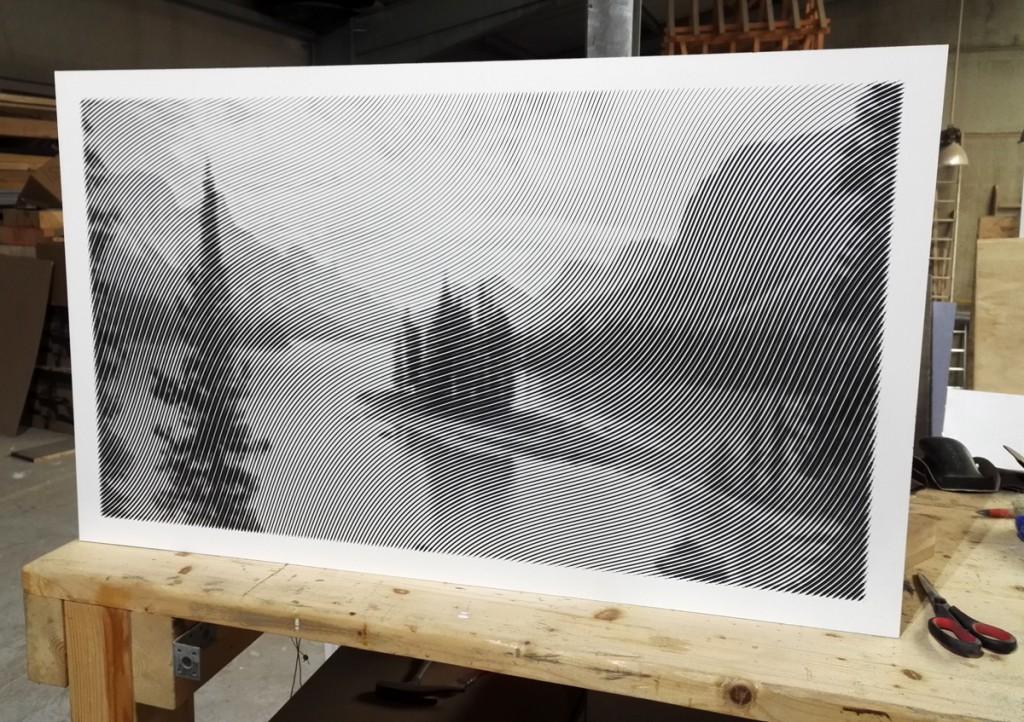 Gefrästes Halbtonbild. Motiv: Maligne Lake in Alberta, Canda. Format 1000 x 600mm